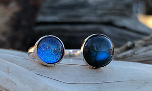 Blue Glass/Labradorite 2cap - Valou ::: Home of the Original 3cap ring design :::