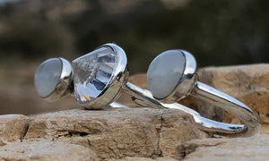 Moonstone CZ 3cap - Valou ::: Home of the Original 3cap ring design :::