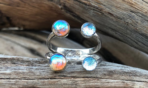 Frosted peach/baby-blue glass X4 - Valou ::: Home of the Original 3cap ring design :::