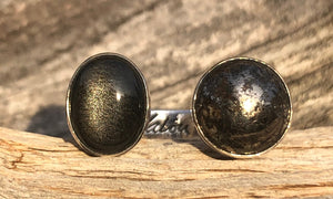 Silver Sheen Obsidian/ Pyrite 2cap - Valou ::: Home of the Original 3cap ring design :::