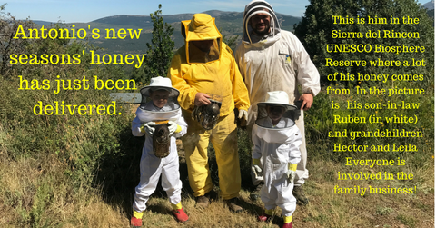 Organic beekeeper Antonio with his beekeping family in Sierra del Rincon Biosphere Park