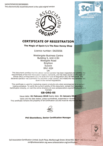 Soil Association Organic Certificate