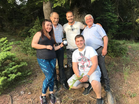 Elena, Thomas, Panos, Giorgios and Kostas - the whole beekeeping family in the Fir Forest