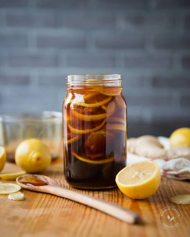 Photo of cold/flu remedy in glass jar