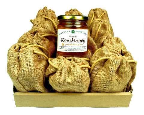 Pure and Natural Bargain Box: Raw Acacia Honey - 12 x 250g in Jute Gift Bags - The Raw Honey Shop