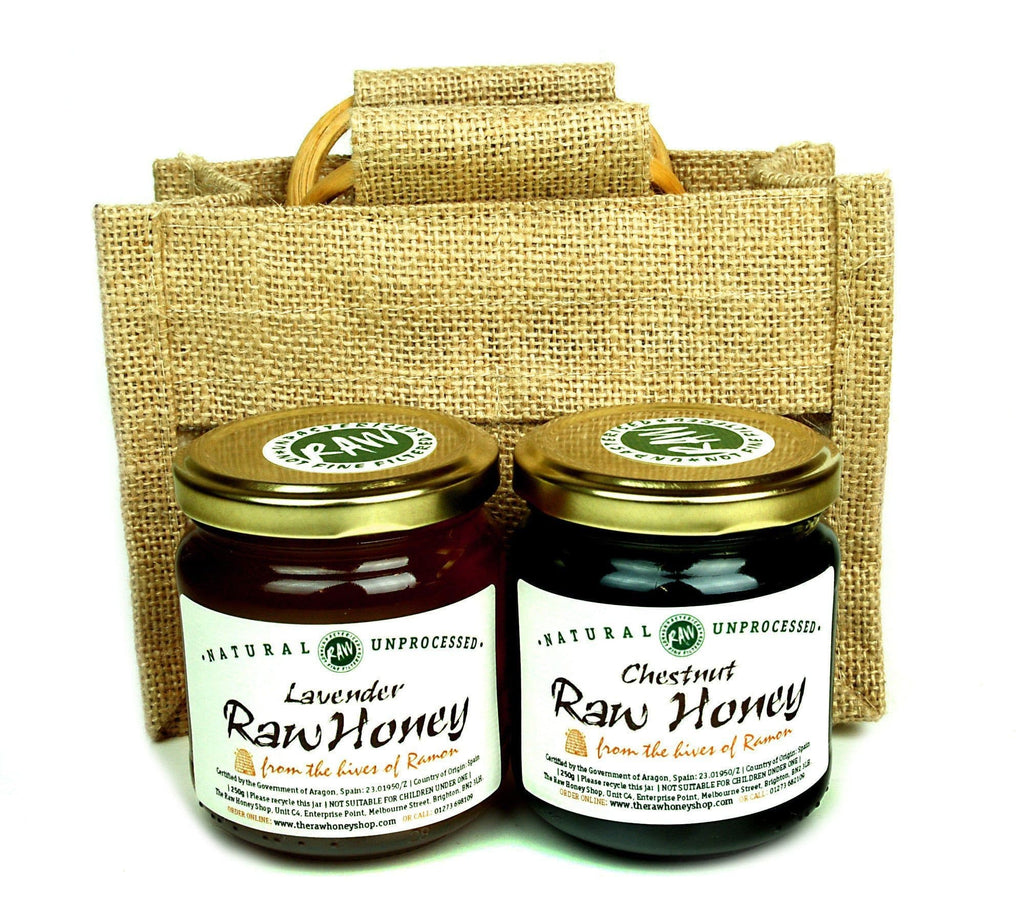Pure and Natural Raw Honey Jute Gift Bag (2 x 250g) Raw Lavender & Raw Chestnut - The Raw Honey Shop