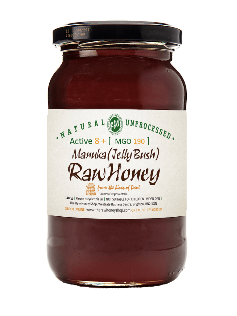 Pure and Natural Raw Artisan Manuka Honey Active 8+ (MGO 190) 480g- Traceable To Source - The Raw Honey Shop