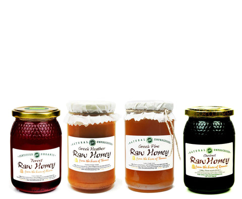 Pure and Natural Raw Honey Autumn Selection - Greek Heather, Forest, Greek Pine, Chestnut - The Raw Honey Shop