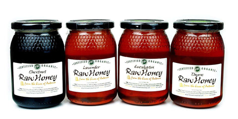 Pure and Natural Raw Organic Honey Classic Selection (500g x 4) Chestnut, Eucalyptus, Lavender, Thyme - The Raw Honey Shop