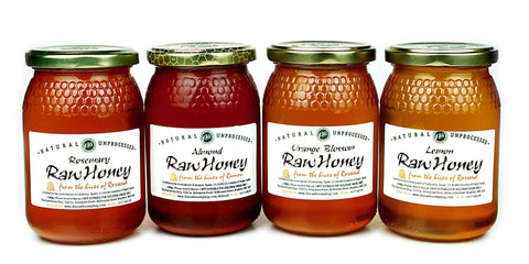Pure and Natural Raw Honey Spring Selection (500g x 4) Lemon, Thyme, Rosemary, Almond - The Raw Honey Shop