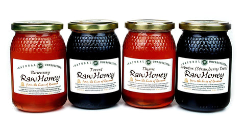 Pure and Natural Raw Honey Winter Selection (500g x 4) Rosemary, Thyme, Forest, Eucalyptus - The Raw Honey Shop