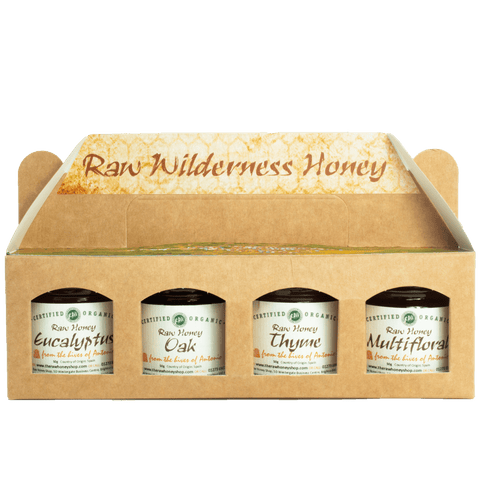Pure and Natural Artisan Raw Organic Honey Tester Set - 4 x 50g (Oak, Thyme, Multifloral, Eucalyptus) - The Raw Honey Shop