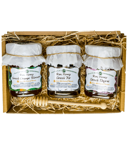 Artisan Greek Raw Honey Gift Box - Orange Blossom, Thyme & Fir- 300g jars