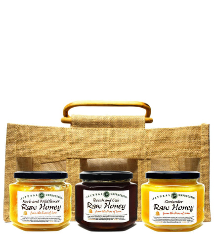 Pure and Natural Bulgarian Raw Honey Sampler in Jute Gift Bag (Coriander, Beech & Oak, Herb & Wildflower) - The Raw Honey Shop