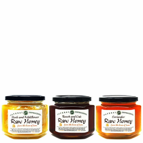 Pure and Natural Bulgarian Raw Honey Sampler (Coriander, Beech & Oak, Herb & Wildflower) - The Raw Honey Shop