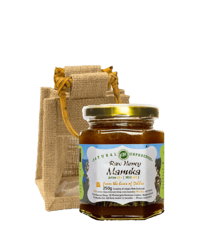 Raw Artisan New Zealand Manuka Honey Active 10+ (MGO 263) 250g with jute gift bag