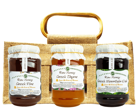 Greek Artisan Raw Honey Set - 3 Jars in Jute Gift Bag