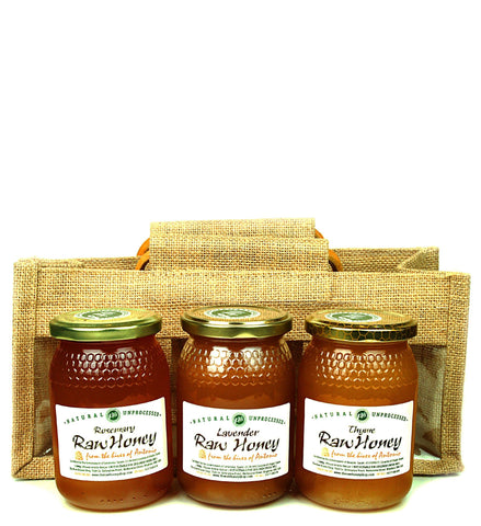 Pure and Natural Raw Honey Herbal Sampler Set - 3 x 500g in Jute Gift Bag (Raw Rosemary, Thyme, Lavender) - The Raw Honey Shop