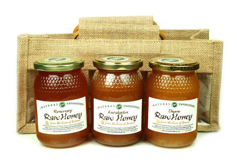 Pure and Natural Raw Honey Herbal Sampler Set - 3 x 500g in Jute Gift Bag (Rosemary, Thyme, Eucalyptus) - The Raw Honey Shop