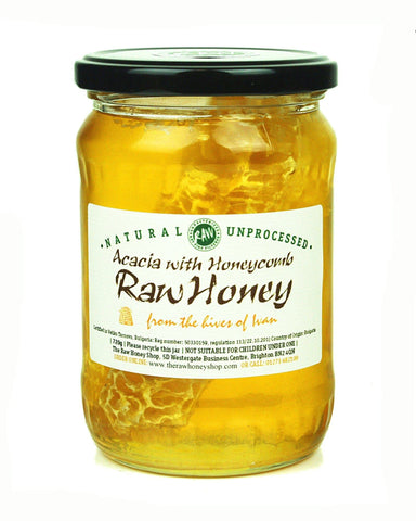 Pure and Natural Raw Acacia Honey with Honeycomb - 720g - The Raw Honey Shop