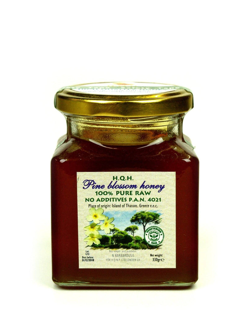 Pure and Natural Raw Greek Pine Blossom Honey - 330g - The Raw Honey Shop