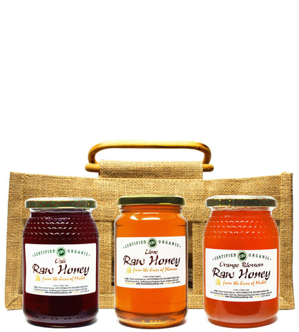 Raw Organic Honey Set in Jute Gift Bag (3 x 500g)