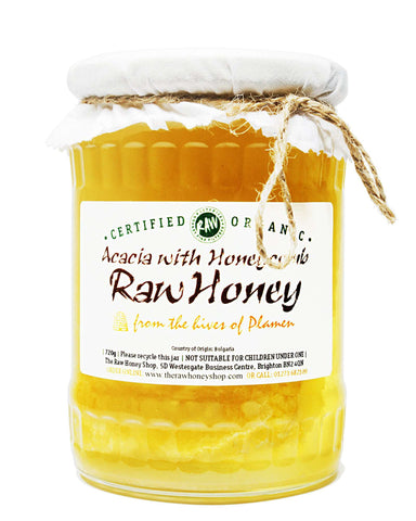 Raw Organic Acacia Honey with Honeycomb - 720g