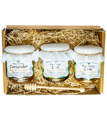 Artisan Raw Organic Honey Gift Box 3 x 250g