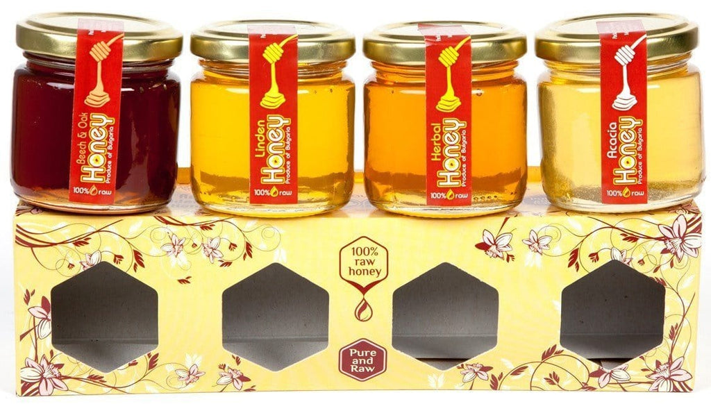 Pure and Natural Gift Box of 4 x 120g Raw Honeys: Acacia, Lime Tree, Beech and Oak, Herbal - The Raw Honey Shop