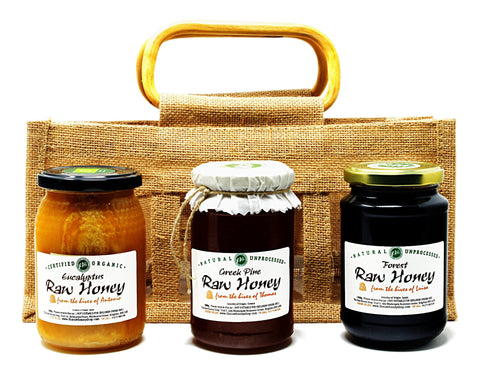 Raw Antibacterial Honey Set in Jute Gift Bag (Organic Eucalyptus, Greek Pine, Forest)