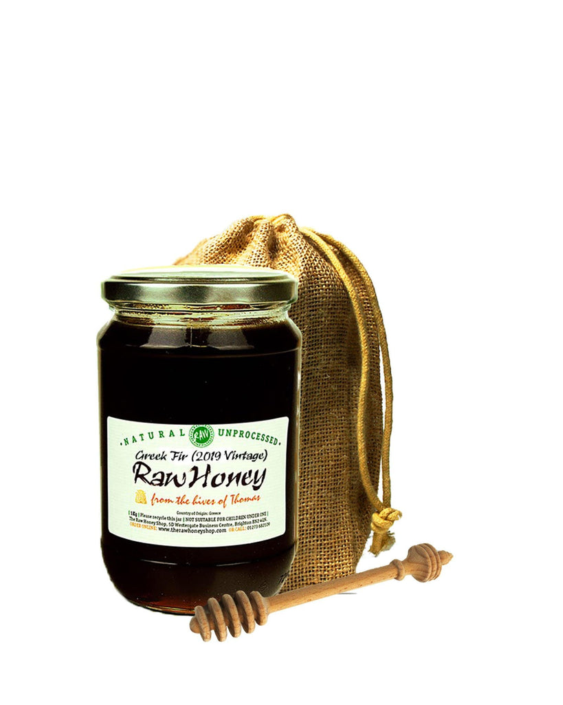 Pure and Natural Raw Greek Fir (2019 Vintage) in Jute Gift Bag with Handmade Honey Dipper - The Raw Honey Shop