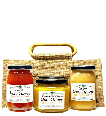 Pure and Natural Raw Honey Herbal Sampler Set in Jute Gift Bag (Herb & Wildflower, Thyme, Lavender) - The Raw Honey Shop
