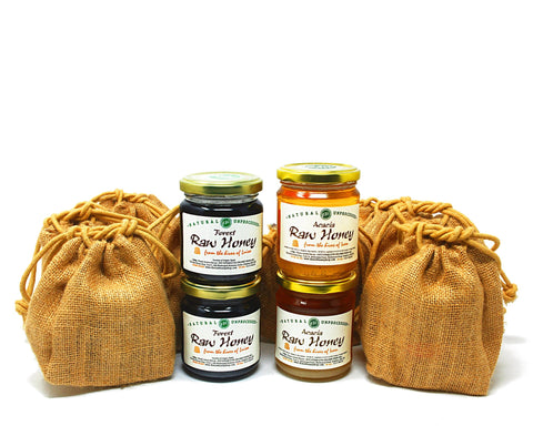 Bargain Gift Bundle: Raw Acacia Honey & Raw Forest Honey - 12 x 250g in Jute Bags