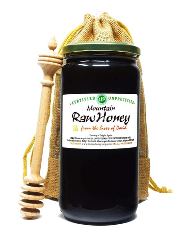 Raw Mountain Honey in Jute Gift Bag with Beechwood Dipper - 1kg