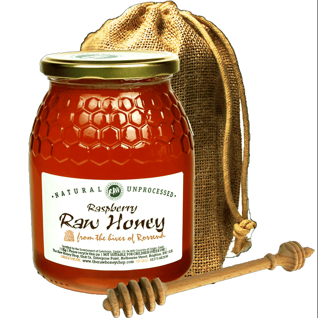Raw Raspberry in Jute Gift Bag with Honey Dipper