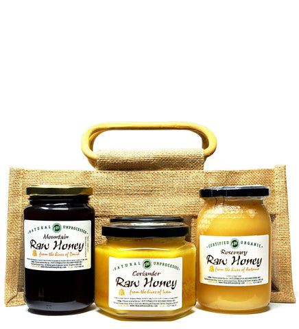 Sweet Raw Honey Sampler Set in Jute Gift Bag - Coriander, Mountain, Rosemary