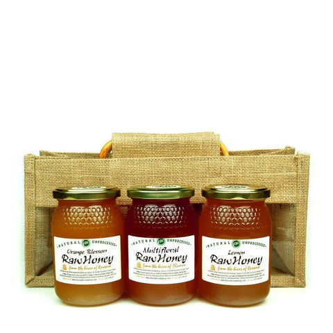Sweet Raw Honey Sampler Set in Jute Gift Bag - Lemon Blossom, Orange Blossom, Multifloral