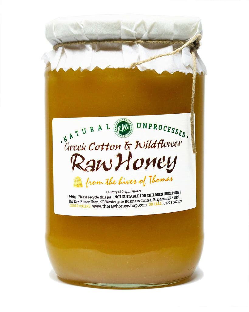 Pure and Natural Artisan Raw Greek Cotton & Wildflower Honey - 960g - The Raw Honey Shop