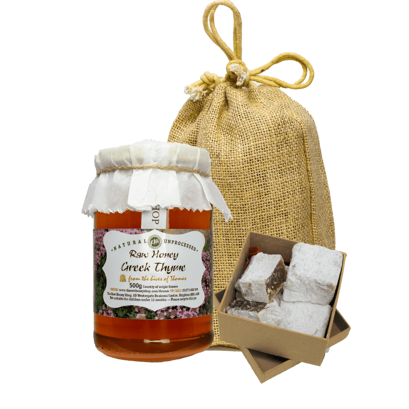 Artisan Greek Gift Bag - 490g Raw Greek Thyme Honey and Loukoumi sweets
