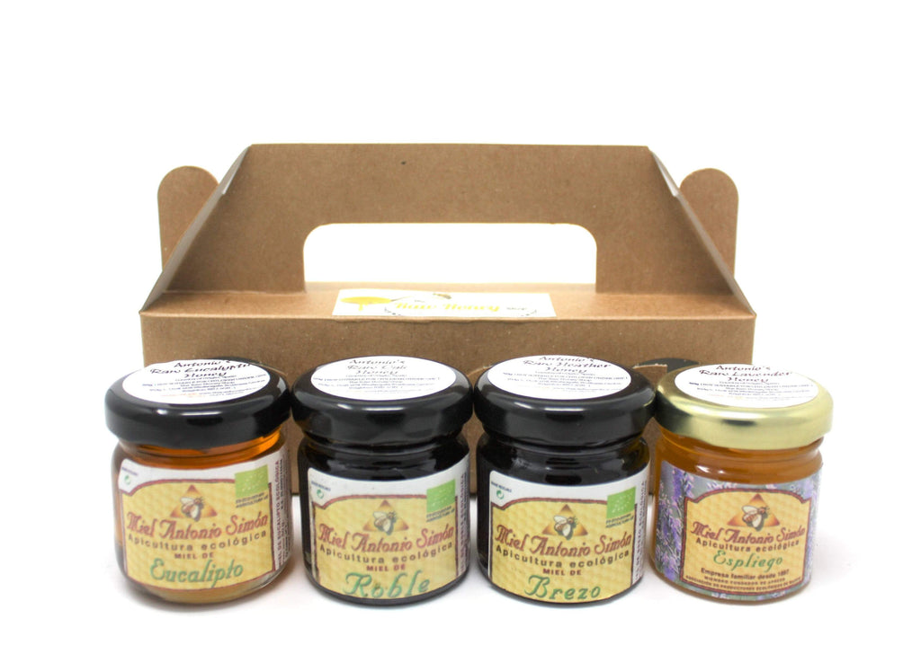 Pure and Natural Raw Honey Tester Set in Card Gift Box - 4 x 50g (Oak, Heather, Wild Lavender, Eucalyptus) - The Raw Honey Shop