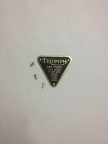 "TRIUMPH PATENT PLATE BRASS!! "" 650 TWIN"" WITH RIVETS"