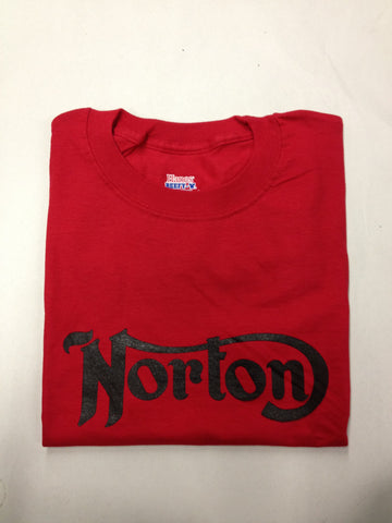 NORTON T-SHIRT RED WITH BLACK LOGO SHORT SLEEVE S-M-L