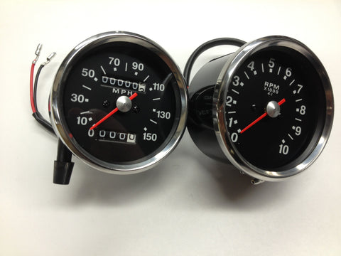 SPEEDO SPEEDOMETER AND TACH TACHOMETER SET BLACK FACE 650 750 SMITHS REPLICA-BSA