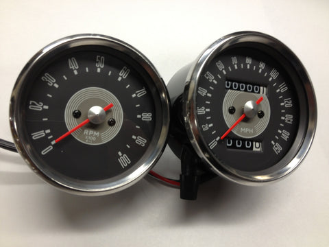Gauges Speedo Speedometer and Tach Tachometer Set, Grey Face 650 68-70 Smith Replica for BSA