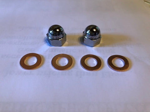 Acorn Domed Nuts Rocker Feed T120 TR6 T140 TR7 69-82 w Washers for Triumph