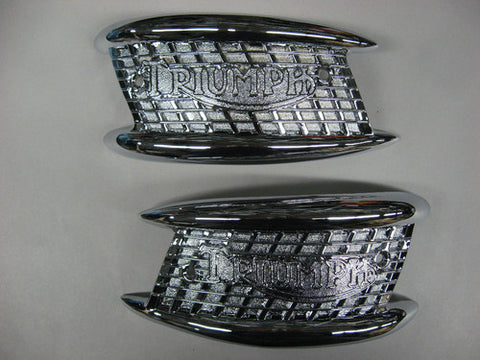 TRIUMPH GAS TANK BADGES EMBLEMS GARDEN GATE 63-65 UK MODELS 650 MADE IN UK