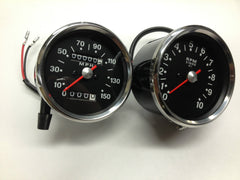 GAUGES BLACK FACE SPEEDO SPEEDOMETER AND TACH TACHOMETER 650 750 SMITHS REPLICA BSA