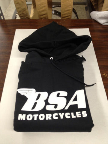 BSA HOODED SWEATSHIRT, BLACK WITH WHITE LETTERING