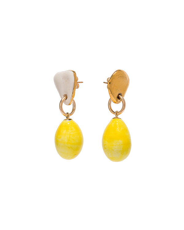 Lemon Drop Prayer Bead Earrings