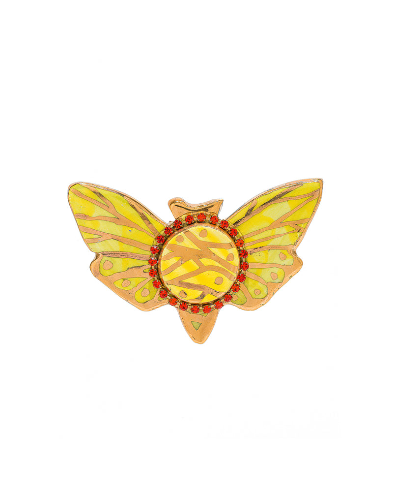 Chartreuse Moth Pin